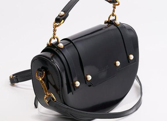 B.Pearl Black Half Moon Leather Purse