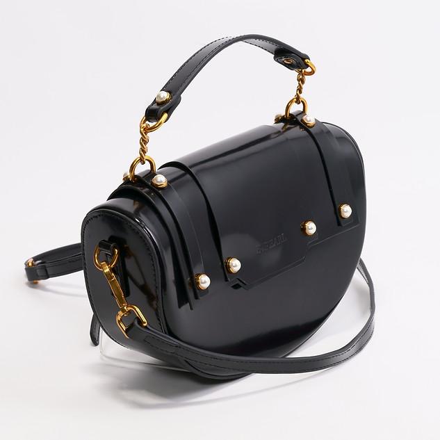 B.Pearl Black Leather Half Moon Purse - TX-BP1903-1