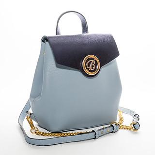 B.Pearl Logo Navy Blue on Sky Blue Leather Backpack Purse, LA-BP1903-2