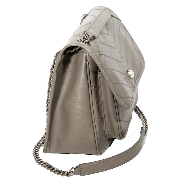 B.Pearl Soft Quilted Grey Handbagjpg