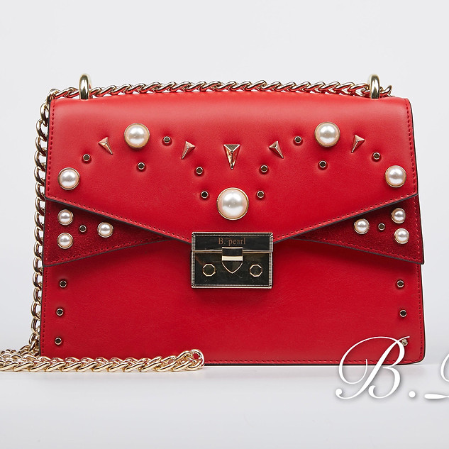B.Pearl Red B.Pearl Leather Purse, Winged #JK-BP2699-1