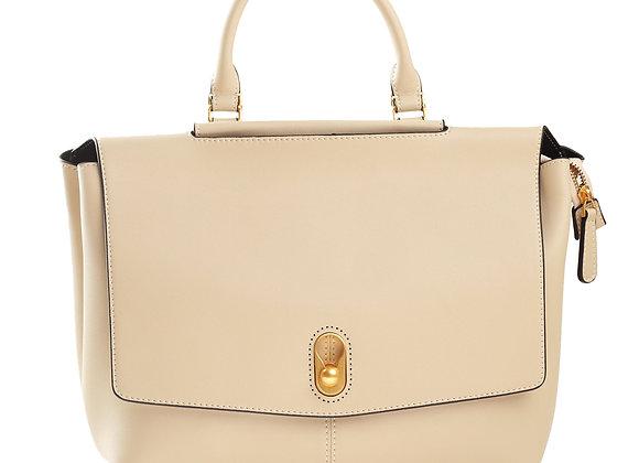 B.Pearl Cream Leather Lux Exec Purse