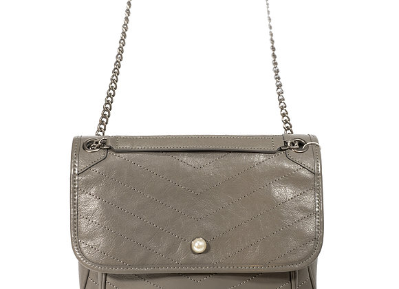 B.Pearl Sand Grey Quilted Leather Handbag