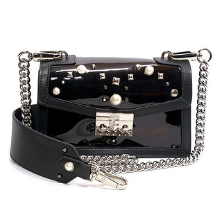 B.Pearl Black Neon Plastic and Leather Purse, GD-BP1904-3