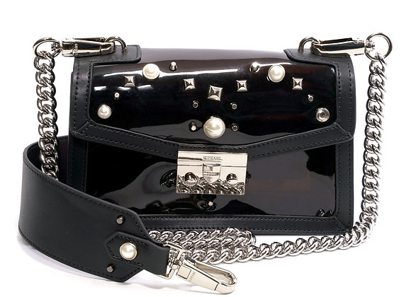 B.Pearl Black Plastic and Leather Purse, Small