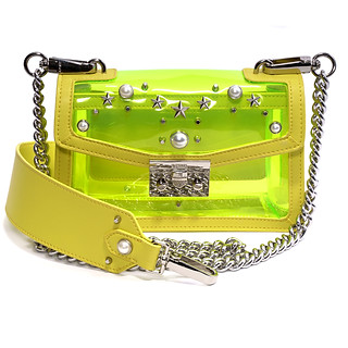 B.Pearl, Yellow Neon Plastic and Leather Purse, GD-PB1904-2
