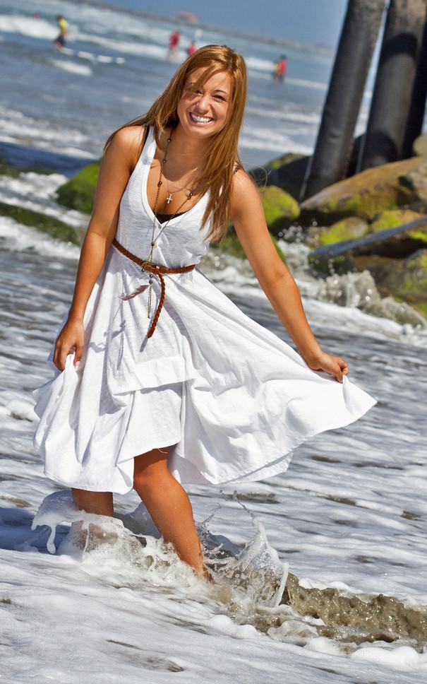Jan Senior Beach Portrait Session, White Dress