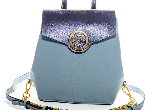 B.Pearl Blue Leather Backpack Purse