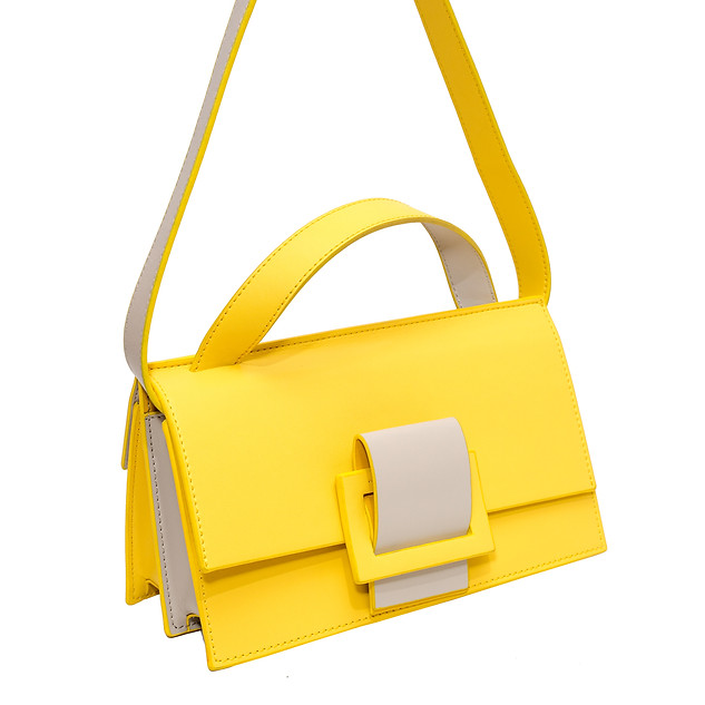 B.Pearl Two Faced Yellow Leather Purse, AC-BP1904-3