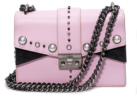 B.Pearl Pink Leather Tabbed Purse