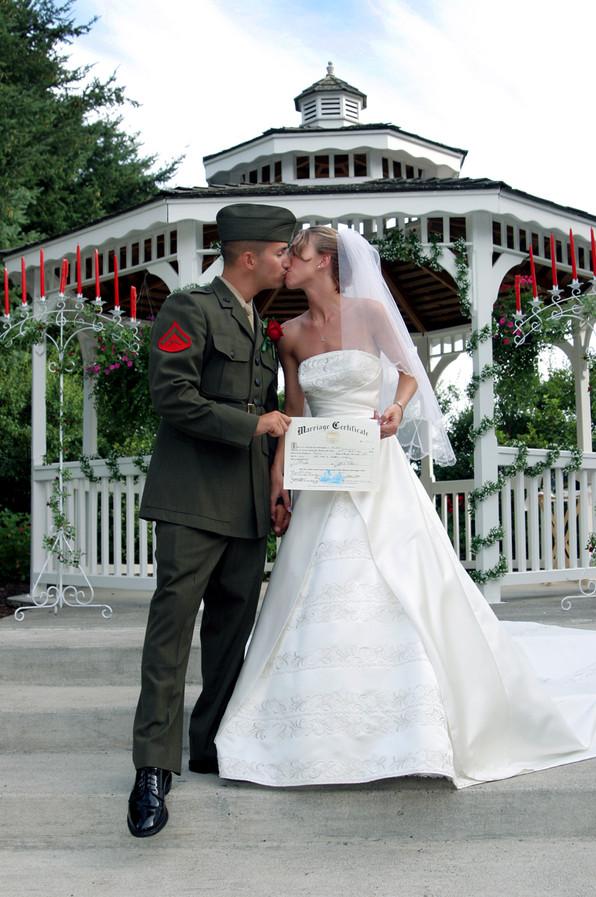 Military Wedding, Bride And Groom Certicate Shot