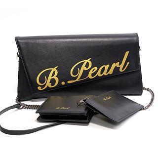 B.Pearl Black Leather Clutch Purse, TX-BP1903-1