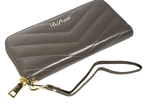 B.Pearl Warm greey Quilted Leather Wallet