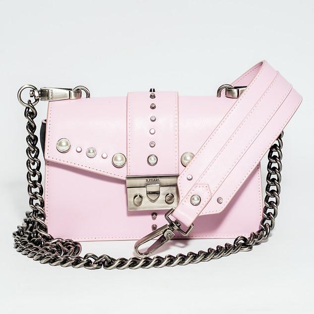 Small Soft Pink Modern Cut B.Pearl Leather Purse -JK-BP2688-4