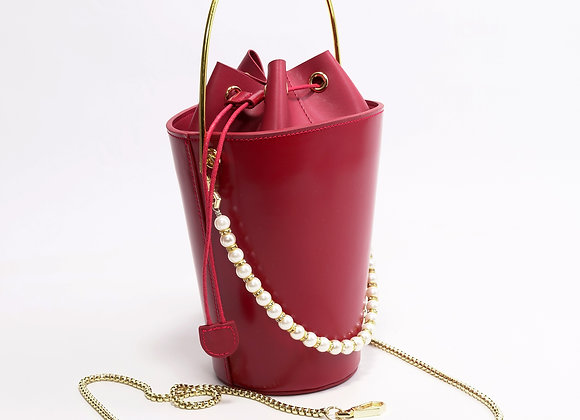 B.Pearl Red Leather Party Purse