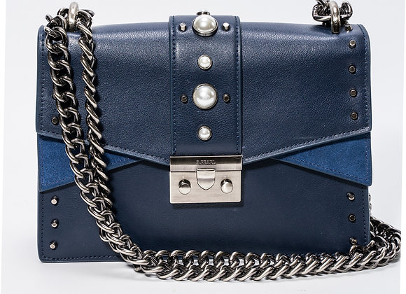 B.Pearl Navy Blue Leather Purse