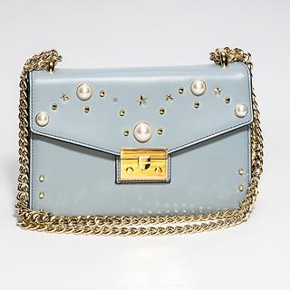 Sky Blue B.Pearl Leather Purse