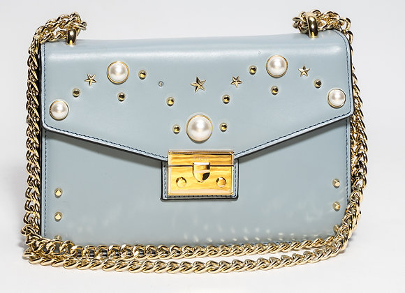 B.Pearl Sky Blue Leather Purse No Tabs