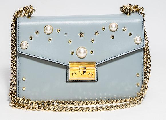 B.Pearl Sky Blue Leather Purse No Tabs