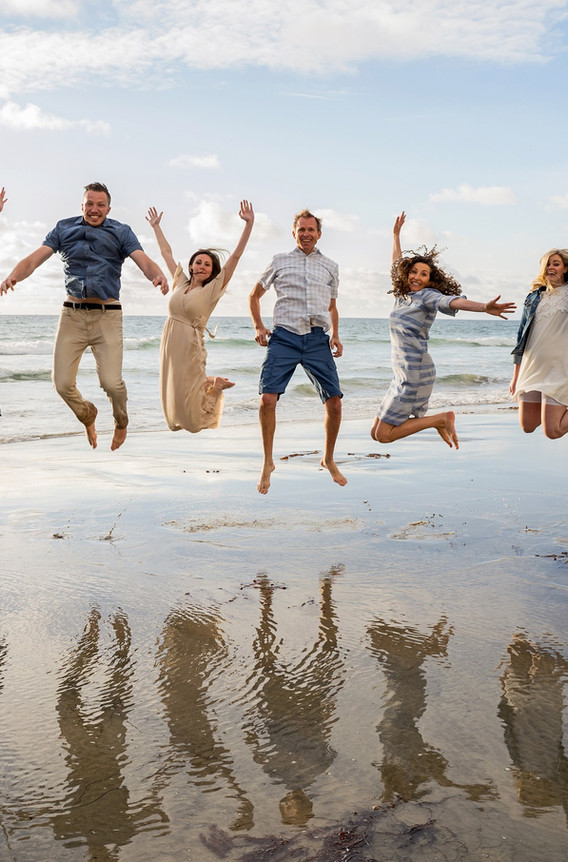 Jumping Family Beach Portrait, Mission Beach CA