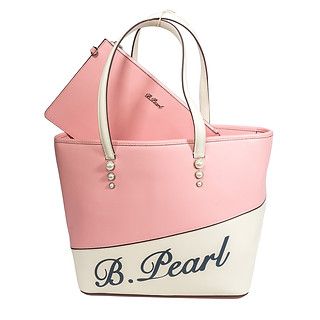 B.Pearl Pink And Cream Leather Tote Bag.
