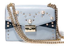 B.Pearl Sky  Blue Tabbed Leather Purse