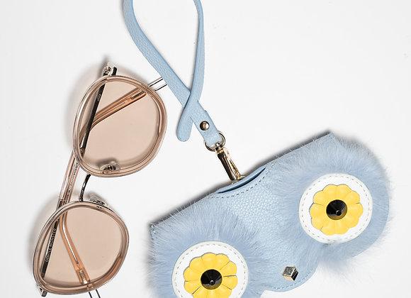 B.Pearl Furry Eyes Sky Blue Sunglasses Case
