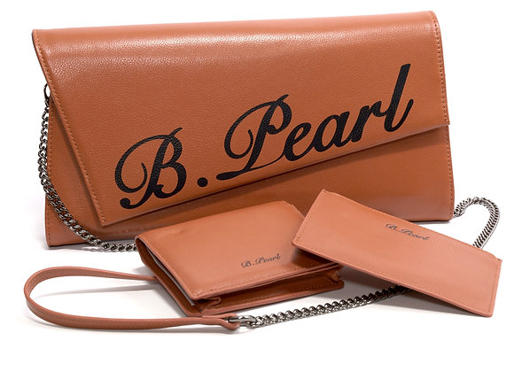 B.Pearl Brown Leather Signature Clutch Set