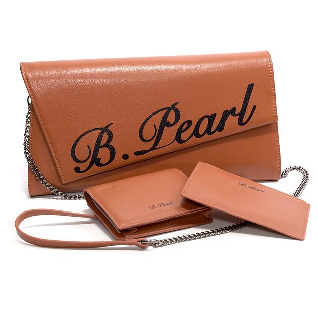 B.Pearl Brown Leather Clutch Purse, tx-bp1903-3