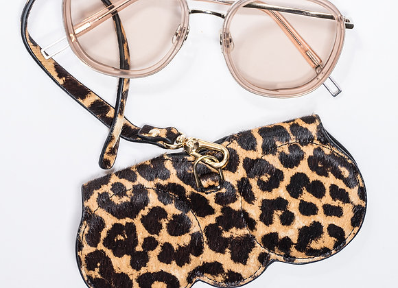B.Pearl Leopard Sun Glasses Case