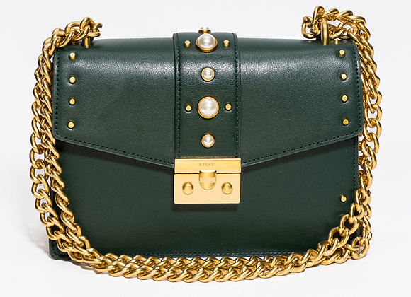 B.Pearl Deep Olive Green Leather Purse, No Tab