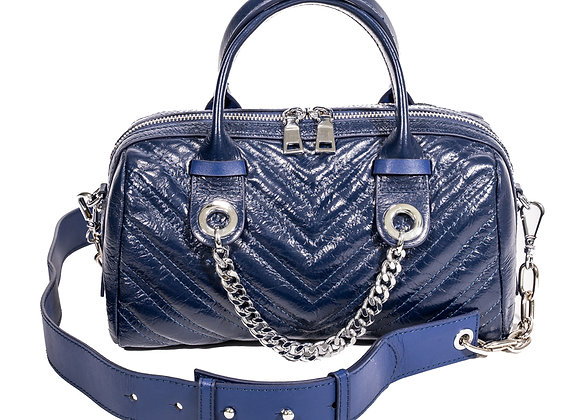 B.Pearl Quilted V Navy Blue Leather Handbag