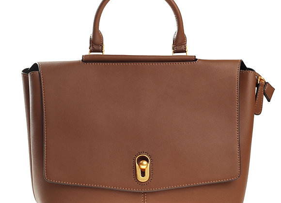 B.Pearl Brown Leather Exec Handbag