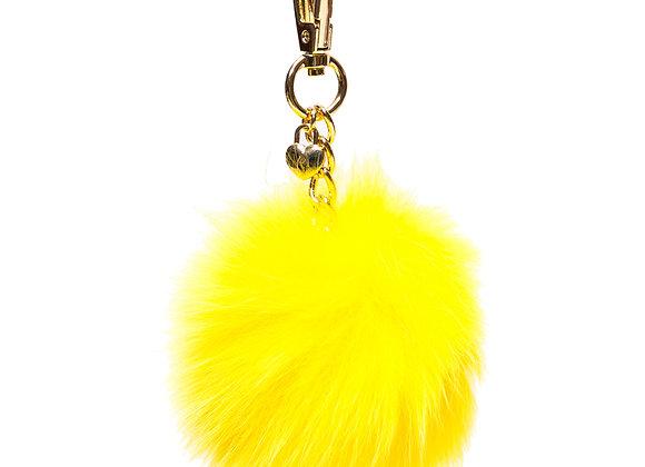 Yellow B.Pearl Purse Fur PomPoms