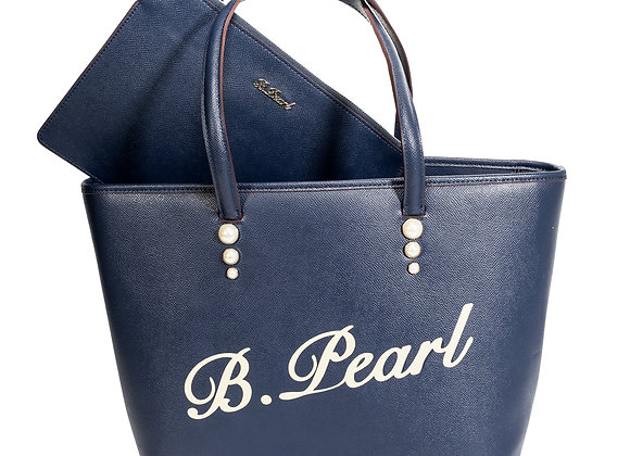 B.Pearl Signature Navy Blue Leather Tote