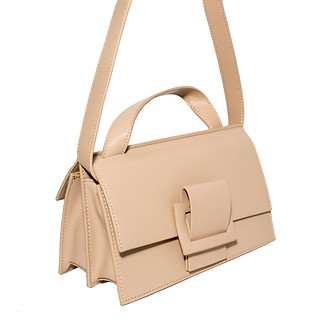 B.Pearl Tan Leather Two Faced Purse