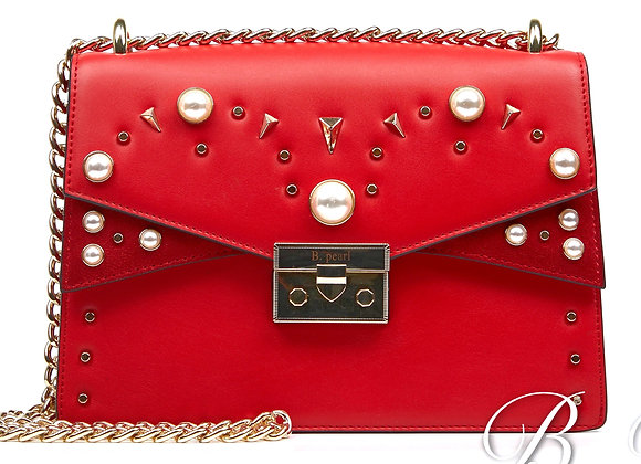 B.Pearl Red Leather Fashion Purse