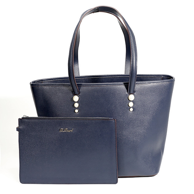 B.Pearl Navy Blue Leather Tote bag