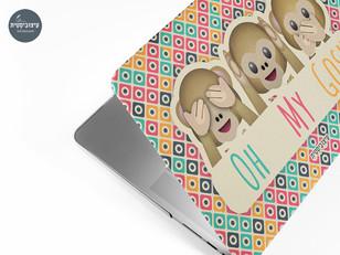 עיצוב לפטופ סקין - אימוג'י קופים
