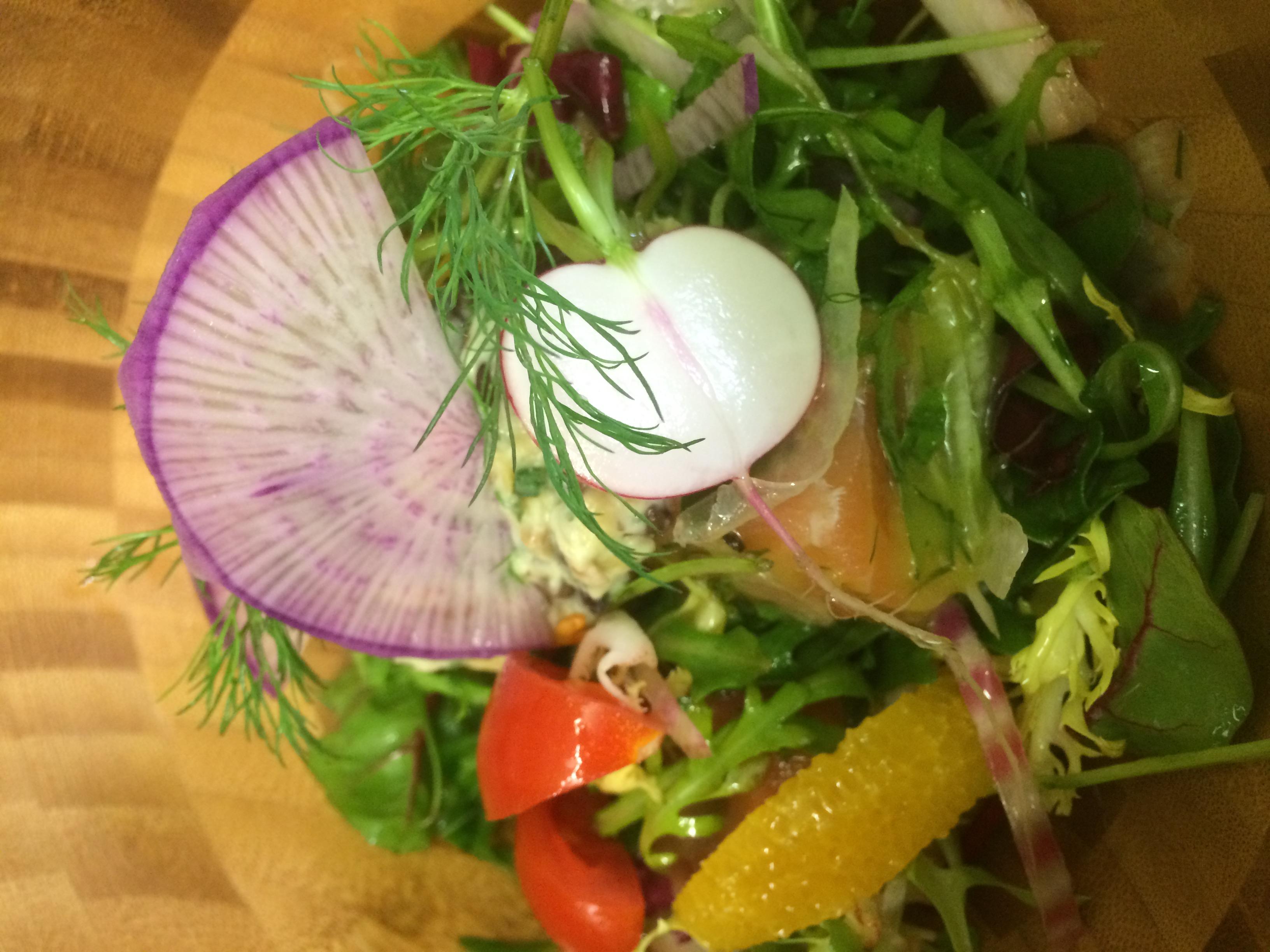 Gravalaax de saumon,salade lentilles