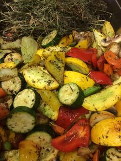 Légumes fumés au foin