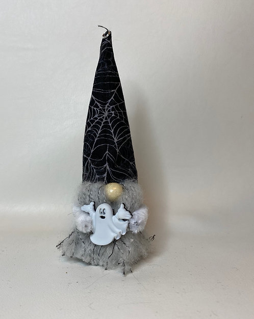 Cheery Gnome  - Ghost with black spiderweb hat