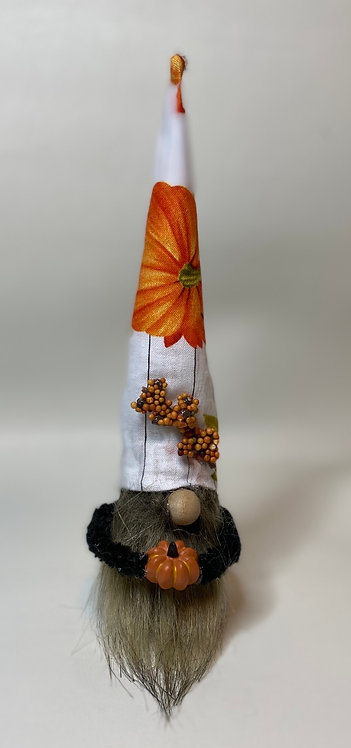 Cheery Gnome - fall pumpkin and flowers