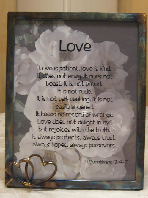 8x10 Love Is frame with double Heart