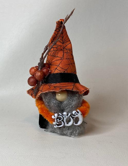Cheery Gnome w/ Orange SpiderWeb Hat holding Boo