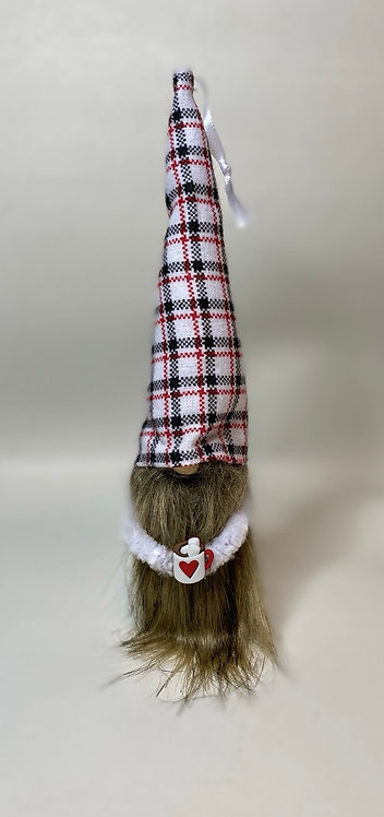 Cheery Gnome - red/black/white tall hat & carrying hot cocoa cup