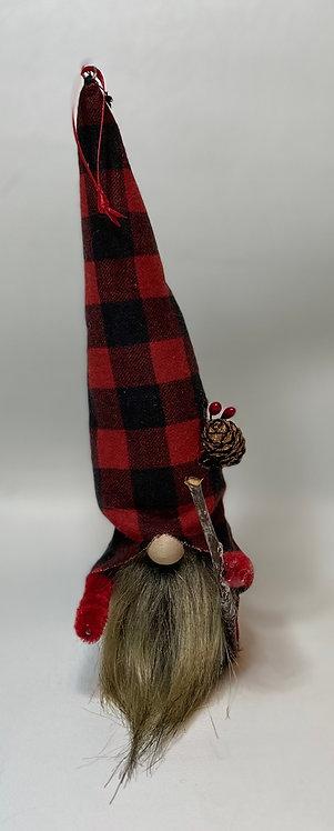 Cheery Gnome - pine cone and walking stick