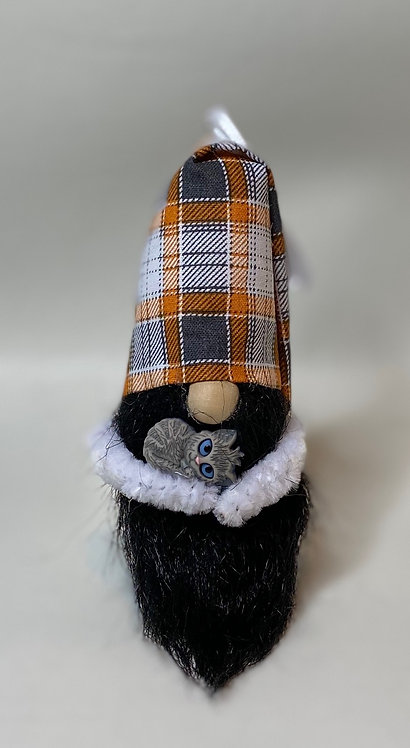Cheery Gnome - tall folded orange and gray plaid hat with gray cat in arms