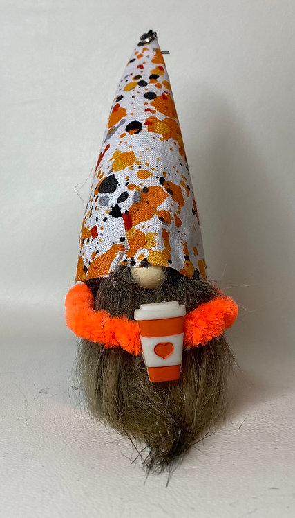 Cherry Gnome- orange and black fall hat with coffee cup