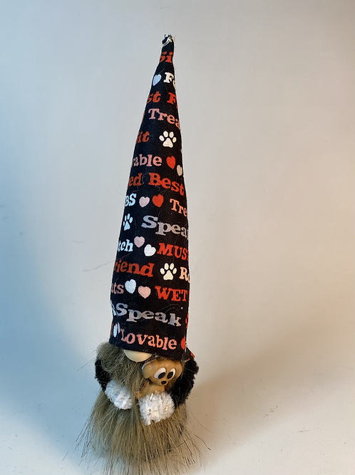 Cheery Gnome : Dog Lover with dog in arms